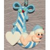 Baby cradled  in a Candy Cane  - Blue